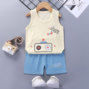 Baby Toddler Summer Vest Shorts Suit Cartoon Radio