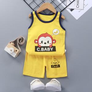 Baby Toddler Summer Vest Shorts Suit Cartoon Monkey