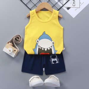 Baby Toddler Summer Vest Shorts Suit Cartoon Shark