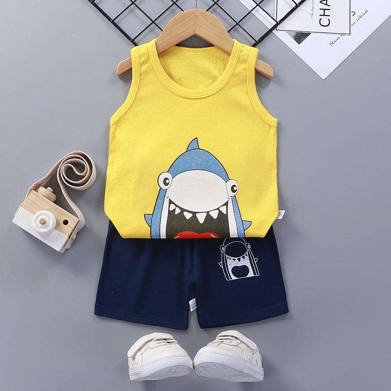 Baby Toddler Summer Vest Shorts Suit Cartoon Shark