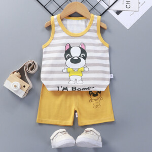 Baby Toddler Summer Vest Shorts Suit Cartoon Dog