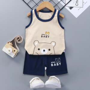 Baby Toddler Summer Vest Shorts Suit Cartoon Bear