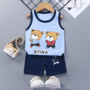 Baby Toddler Summer Vest Shorts Suit Cartoon Little Bear