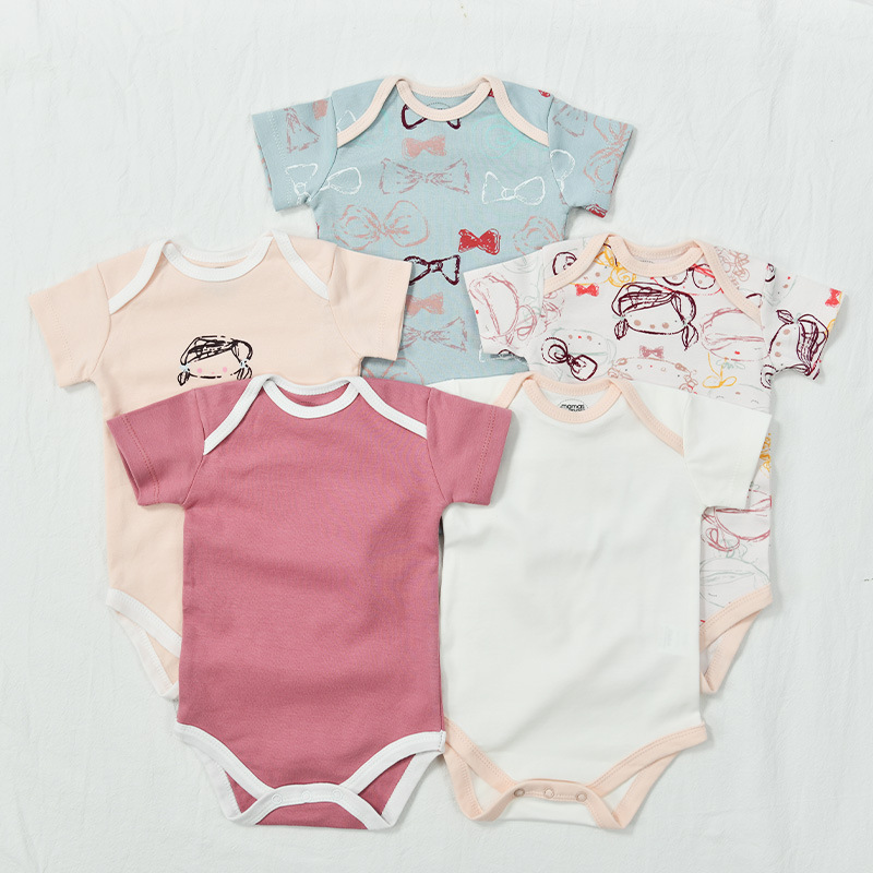 5 Pieces Newborn Baby Jumpsuits Cotton Clothes Graffiti Girl