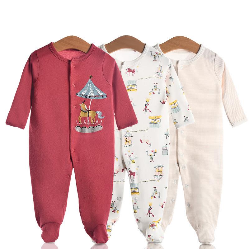3 Pieces Newborn Baby Jumpsuits Cotton Clothes Pony