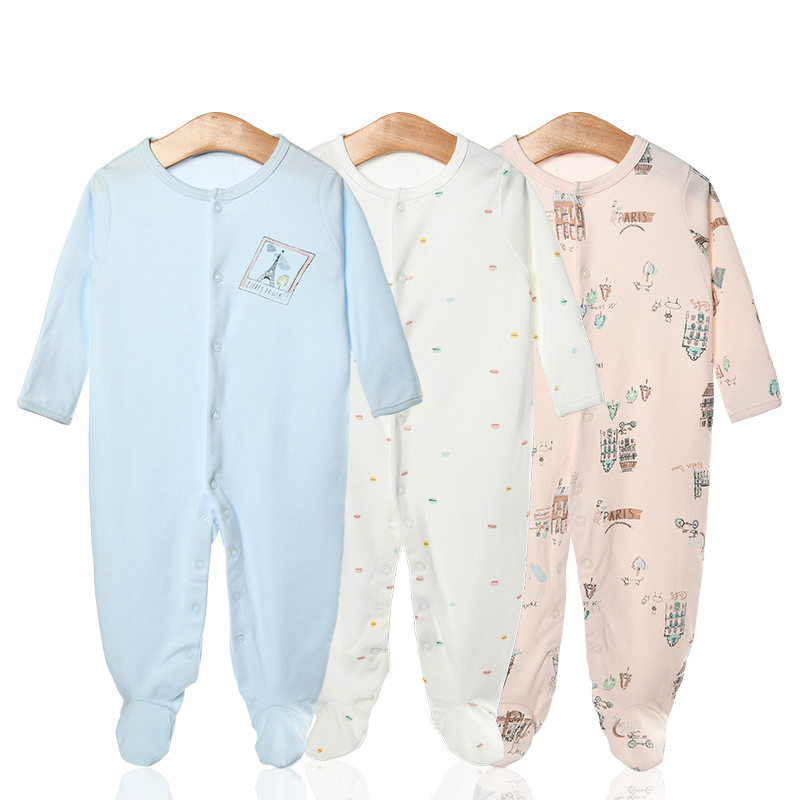 3 Pieces Newborn Baby Jumpsuits Cotton Clothes Eiffel Tower