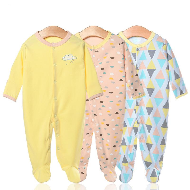 3 Pieces Newborn Baby Jumpsuits Cotton Clothes Color Rectangle
