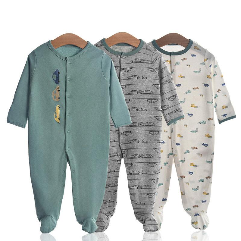 3 Pieces Newborn Baby Jumpsuits Cotton Clothes Car