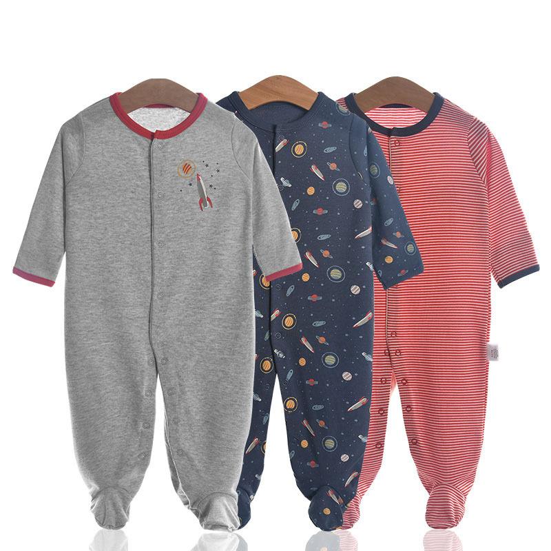 3 Pieces Newborn Baby Jumpsuits Cotton Clothes Planet