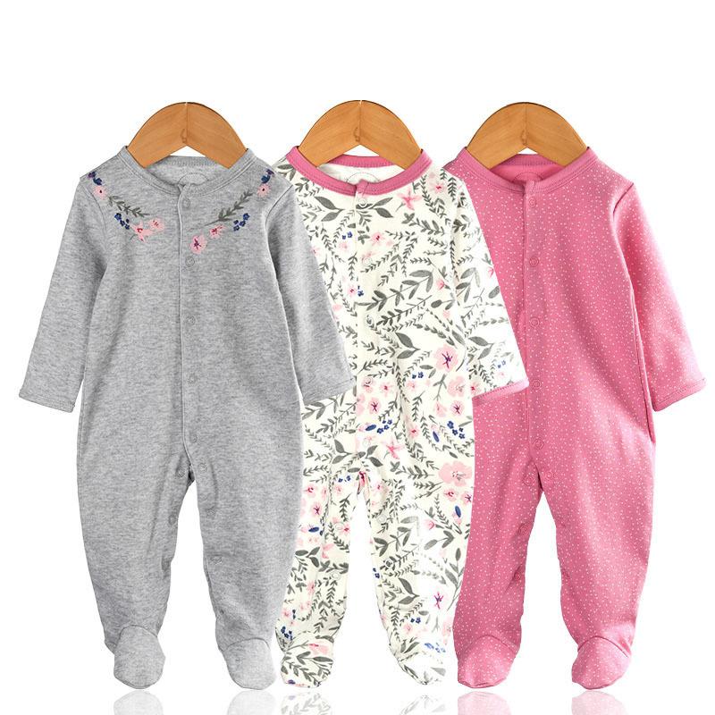 3 Pieces Newborn Baby Jumpsuits Cotton Clothes Lacework