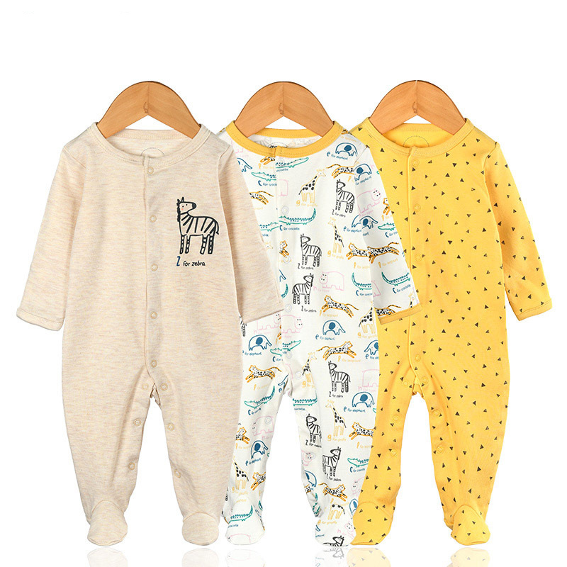 3 Pieces Newborn Baby Jumpsuits Cotton Clothes Zebra
