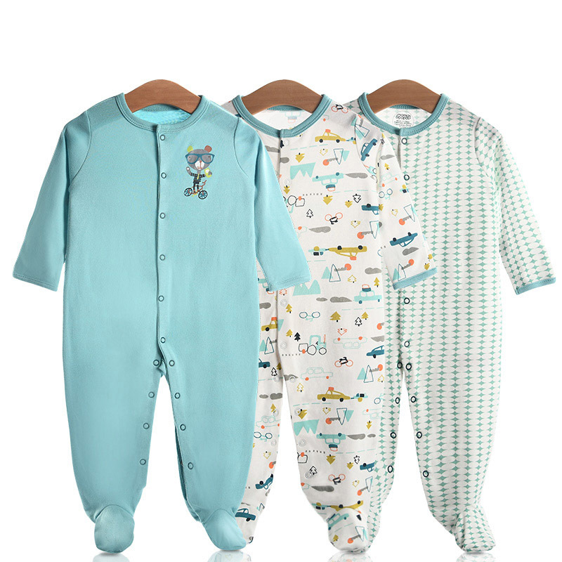 3 Pieces Newborn Baby Jumpsuits Cotton Clothes Cartoon Car