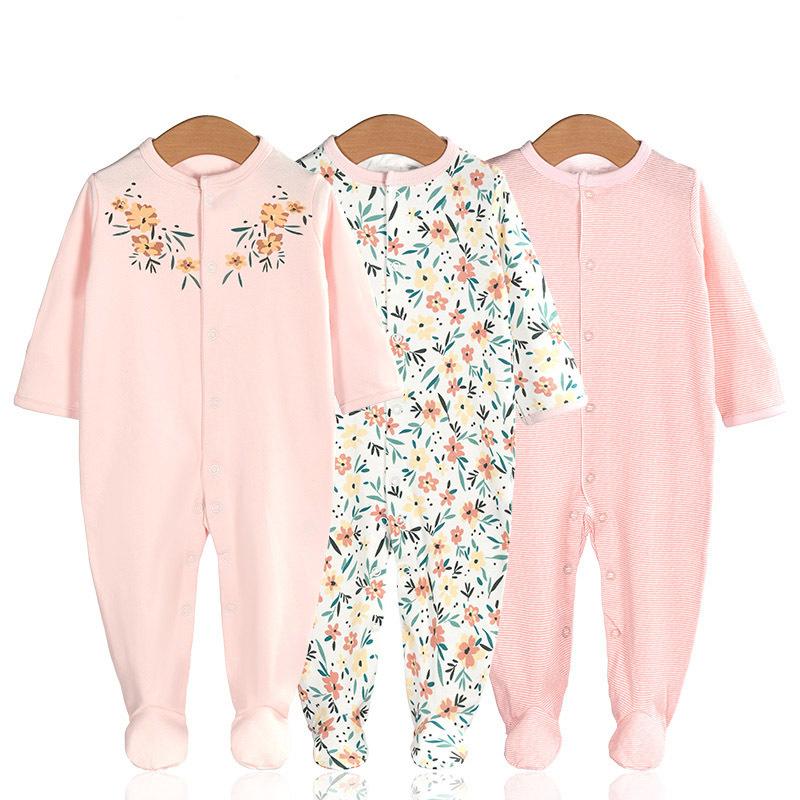 3 Pieces Newborn Baby Jumpsuits Cotton Clothes Fresh Flowers