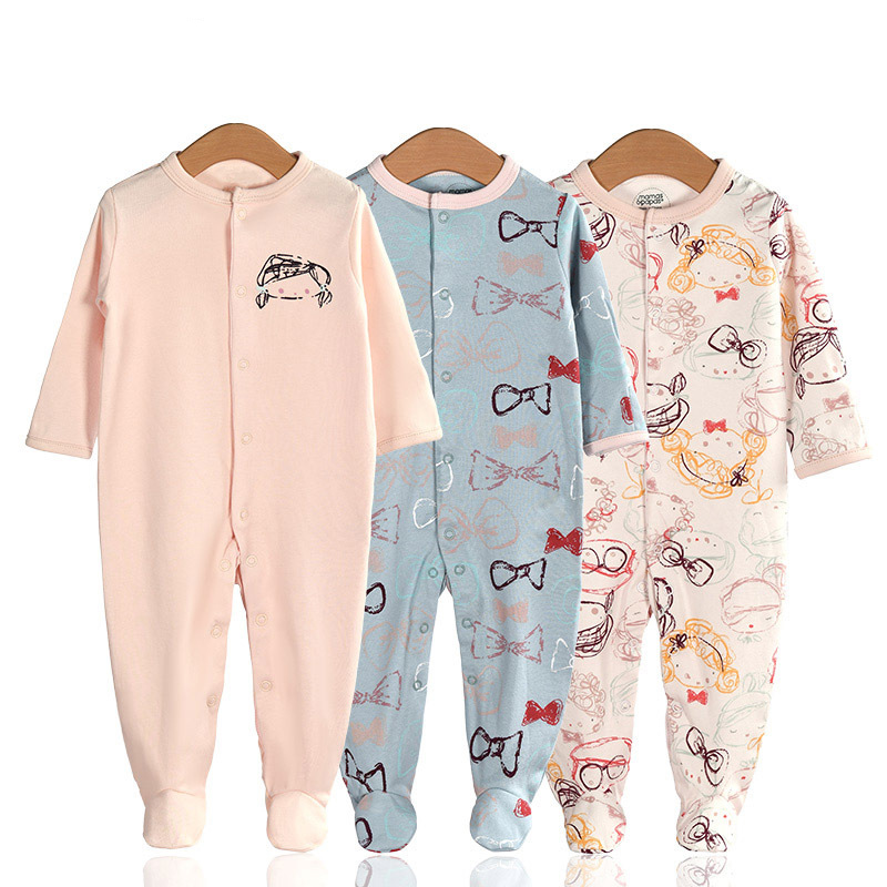 3 Pieces Newborn Baby Jumpsuits Cotton Clothes Graffiti Girl
