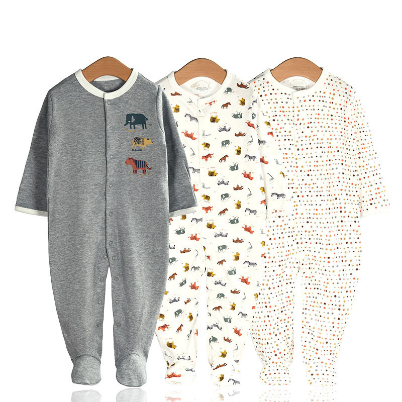 3 Pieces Newborn Baby Jumpsuits Cotton Clothes Animal World