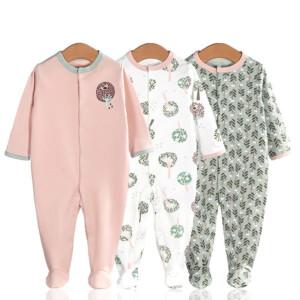 3 Pieces Newborn Baby Jumpsuits Cotton Clothes Flowers Plants
