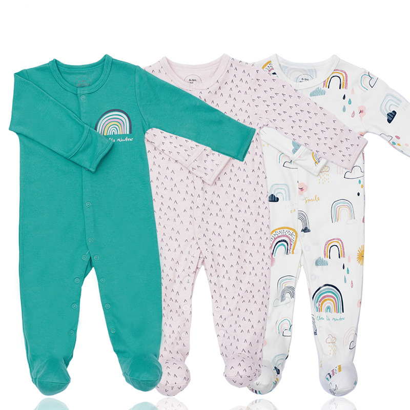 3 Pieces Newborn Baby Jumpsuits Cotton Clothes Rainbow