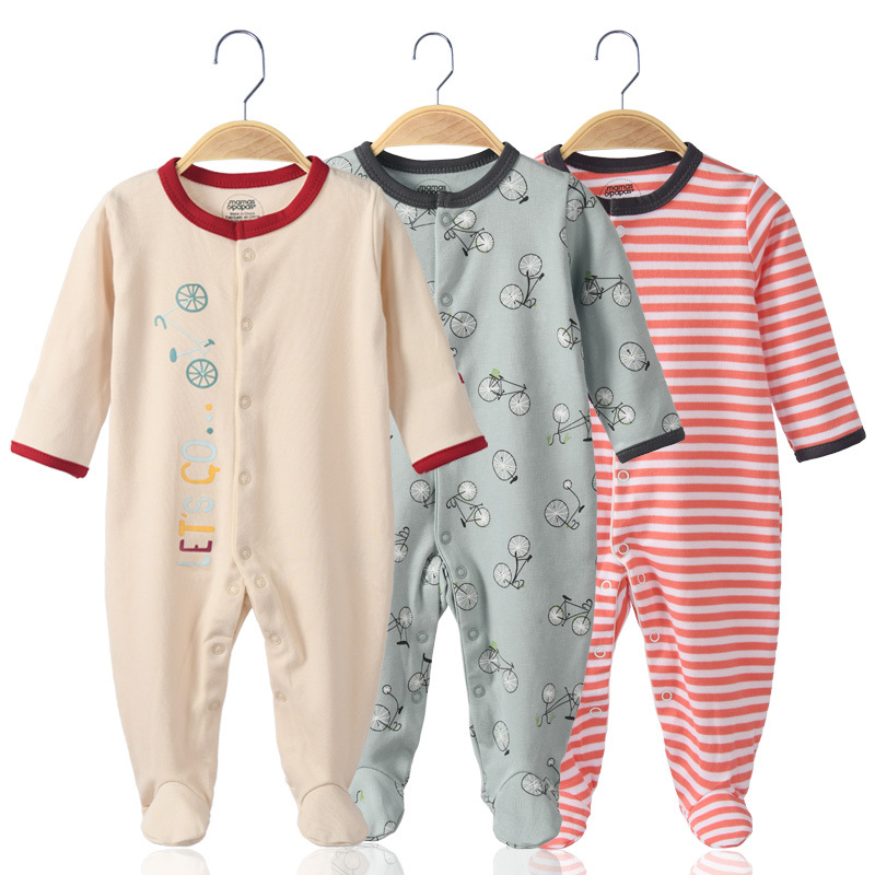 3 Pieces Newborn Baby Jumpsuits Cotton Clothes Bicycle