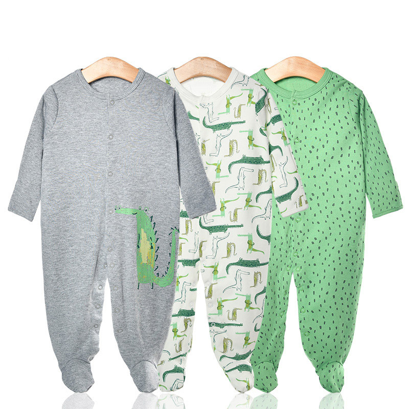 3 Pieces Newborn Baby Jumpsuits Cotton Clothes Crocodile