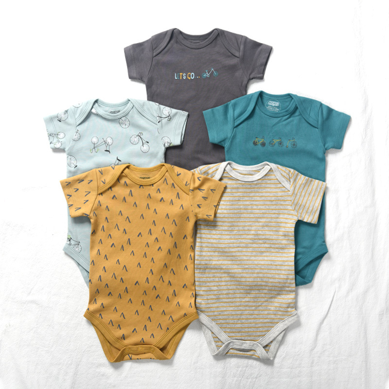5 Pieces Newborn Baby Jumpsuits Cotton Clothes Bicycle