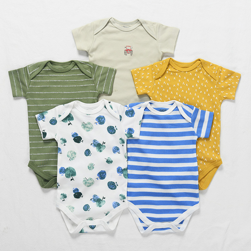 5 Pieces Newborn Baby Jumpsuits Cotton Clothes Fruit Car